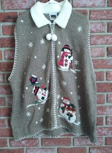 C.S.T. sports Vintage winter sweater snowmen vest